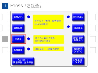 (1)Select 'Remittance(ご送金)'.