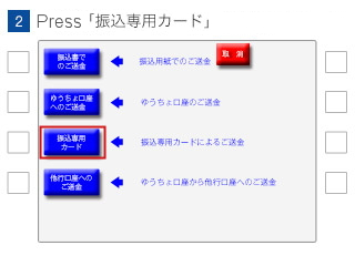 (2)Select 'Transfer Only Card(振込専用カード)'.